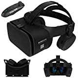 3D VR Virtual Reality Headset, VR Glasses Goggles w/ Bluetooth Headphone [Newest] for iPhone 12 11 Pro Max Mini X R S 8 7 Samsung Galaxy S10 S9 S8 S7 Edge Note/A 10 9 8 + etc 4.7-6.2' Cellphone, Black