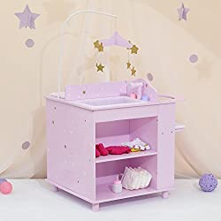 Made to fit 18-inch dolls such as American Girl Madame Alexander Our Generation etc. Lavender Baby doll multi-function changing station. Functions as changing station. High chair. Sink for bath. Includes a mobile. a bedding. 3 hangers. Storage shelve...