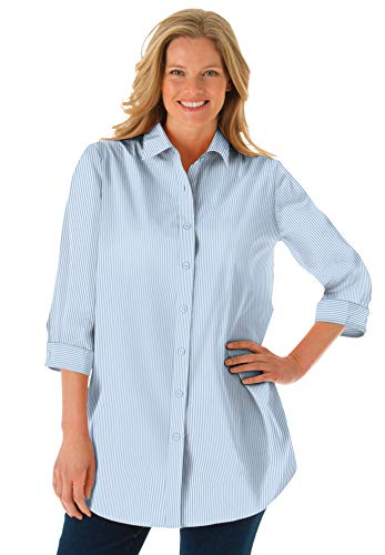 Woman Within Women's Plus Size Printed Three-Quarter Sleeve Perfect Shirt - 4X, French Blue Stripe White