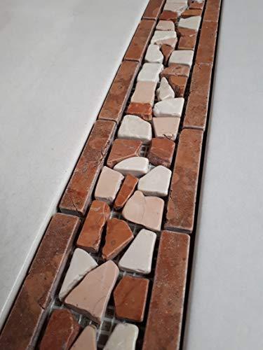 Naturstein Mosaik Bordüre aus italienischem Rosso Verona, Rosa Perlino und Botticino Marmor im Format von 30 x 7,5 cm Fliesen