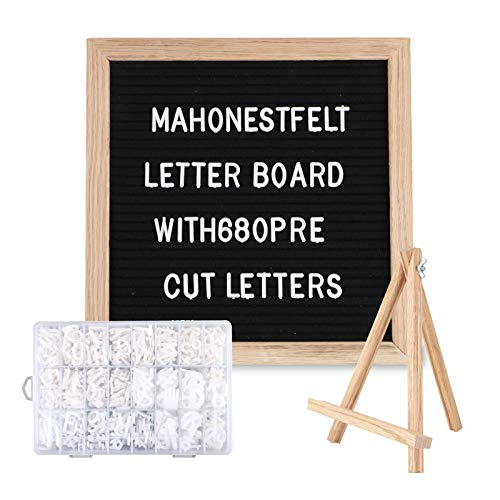 Felt Letter Board with Letters - Cursive Word Pack, Pre Cut & Sorted 680 Characters, 10X10 Letter Board, Message Sign, Changeable Letter Boards with Stand. (10X10)