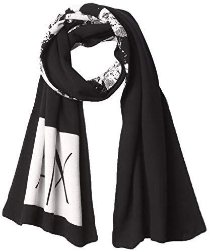 Armani Exchange A|X Damen Mountain Print Logo Scarf Schal für kaltes Wetter, Schwarz/Weiß Wild Mou, Einheitsgröße