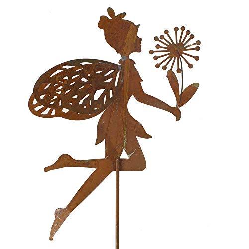 Stecker Elfe Fee Pusteblume Metall L60cm rost oder weiß Garten Deko Pick Stab, Farbe:rost
