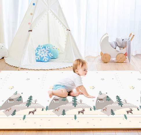 Tapis de Jeu Pour Enfant Bebe 180x200x1,5cm Tapis de Sol XXL en Mousse Epais Pliable Reversible - Tapis d'éveil pour Bébé - Tapis de Motricité Favorisant le Développement Sensoriel