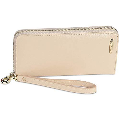 COCASES Damen Portemonnaie, Elegant Kunstleder Langbörse mit Reißverschluss und Schlaufe Creme