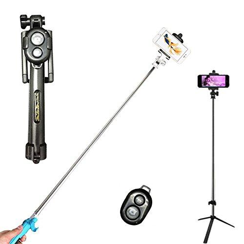 GCBTECH Selfie Stick con mini Aggiustabile treppiede, adattatore per cellulare, Bluetooth Wireless Remote Shutter foto per fotocamera, Apple iPhone, HTC, Samsung Galaxy & Note e altri smartphone con sistema Android e iOS (nero)