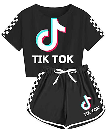 Summer Casual Sport Girls T-Shirt And Shorts Set Plaid Print Clothing Sets Tracksuit X-Large
