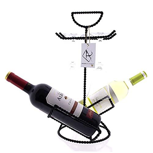 ARTESANIA DE LA RAMBLA | Botellero Vino | Botellero Original | Botellero de Vino | Botellero forja 4 Piezas Modelo 01 | Acabado Negro | 100% Hecho a Mano | 24x20x40 cm