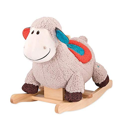 Rocking horse LINGZHIGAN Wood Pp Cotton Exercise Balance Ability, strong ,durable ,wooden handle ,active baby is not afraid (Color : Sheep )