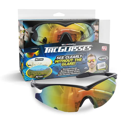 Tacglasses Polarized Sports Sunglasses For Safety Driving, Golfing, Cycling, Fishing, Military Eyewear for Men and Women, Tac Glasses with Anti-Glare and UV Ray Protection by Bell+Howell As Seen On TV