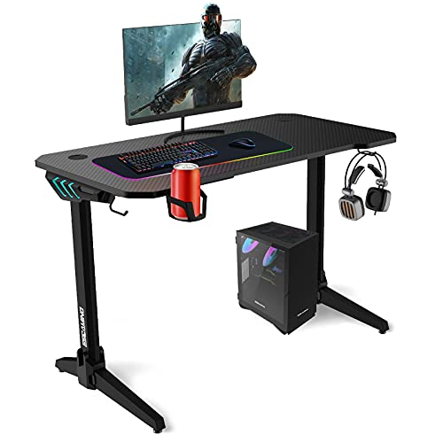 ESGAMING - Escritorio de 44 pulgadas para ordenador de juegos, escritorio de trabajo para el hogar, oficina, escritorio pequeño negro