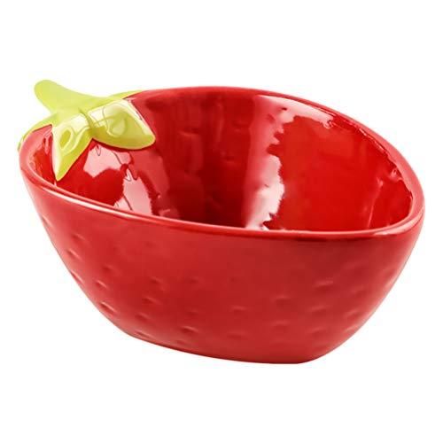 YARNOW Keramik Vorspeise Schüssel Platte Rote Erdbeere Dessertteller Salat Pasta Schalen Essen Serviertablett Geschirr für Obst Käse Joghurt Snack Geschirr