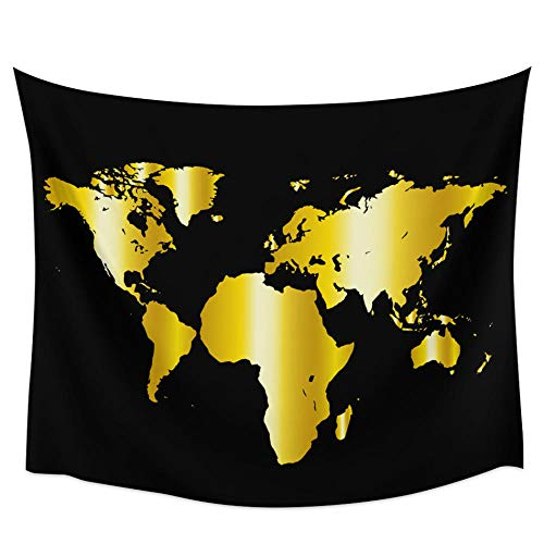 Hahaemall World Map Black Print Tapestry Boho Indie Room Decor Tapestries Wall Hanging Bedspread Blanket Beach Mat Give away 3M Tapestry Light-72x60cm