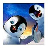 MXJSUA 5D Diamant Peinture Kits De Forage Ronds Complets pour Adultes Collé Arts Artisanat pour La Décoration Murale Pingouin Me Regarder 30x30 cm