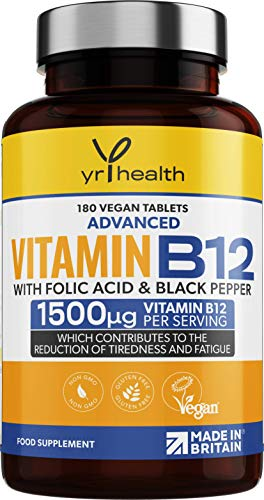 Vegan Vitamin B12 Tablets 1500mcg Methylcobalamin High Strength with Added Folic Acid & Black Pepper - 180 Tablets (6 Month Supply) - Reduction of Tiredness & Fatigue - Made in The UK by YrHealth