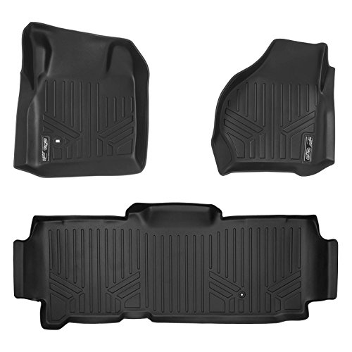 MAXLINER Floor Mats 2 Row Liner Set Black for 1999-2007 Ford F-250 / F-350 Super Duty SuperCab