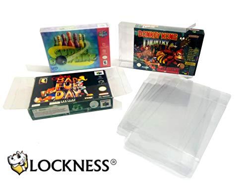 25x Schutzhülle für Super Nintendo und Nintendo 64 Originalverpackungen 0,3 MM STÄRKE SNES OVP BOX PROTECTOR GLASKLAR