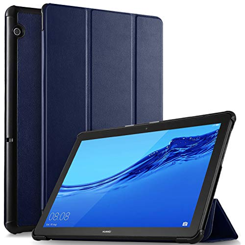 ELTD Hülle für Huawei MediaPad T5 10,Ultra Lightweight Flip mit Ständer Funktion & Eingebautem Magnet Hochwertiges PU Leder Schutzhülle für Huawei MediaPad T5 10 10.1 Zoll 2018 (Blau)