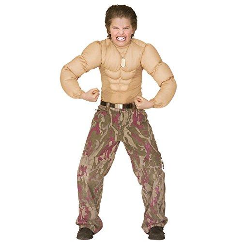 NET TOYS Muskel Kostüm für Kinder Muskelkostüm Kinderkostüm Muskelmann Shirt Soldat Kämfer Gr M 140 cm