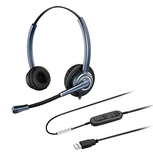 conference headsets 2 Oppetec Dual Ear USB Headset Wired Stereo Speaker Computer Headset with Noise Cancelling Mic for Working at Home Online Course Video Conference Voice Recognition Skype Zoom and Other VoIP Softphones