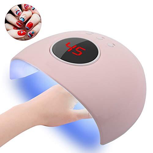 Nageltrockner, 24 W Secador De Uñas, Lámpara De Uñas Led Uv Con Ajuste De 3 Temporizadores 60S, 80S Y 90S (Pink 24W)
