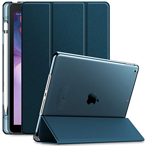 Infiland iPad 10.2 inch 2019 Case with Apple Pencil Holder, Ultra Slim Lightweight Stand Case with Translucent Frosted Back Smart Cover for Apple iPad 7th Generation 10.2 inch 2019 Release,Navy