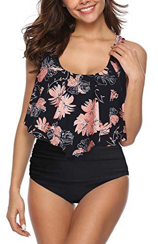 SouqFone High Waisted Bathing Suits Women Floral Printed Swimwear Two Pieces Retro Bikini Set - 2XL,Flower-01