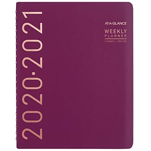 """Academic Planner 2020-2021, AT-A-GLANCE Weekly & Monthly Planner, 8-1/4"""" x 11"""", Large, Contempo, Wine (70957X59)"""