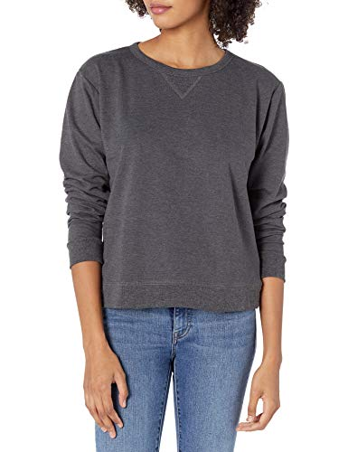 Hanes Women's V-Notch Pullover Fleece Sweatshirt, Slate Heather, Large