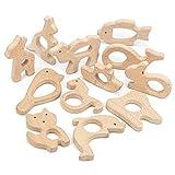 RUBY - 12 Pezzi Sonaglio Animale Organico, Figure in Legno Organico Kit di Dentizione per Bambini Accessori per Appendere fai-da-te Giocattolo in Legno Naturale Baby Shower (Lote 2)