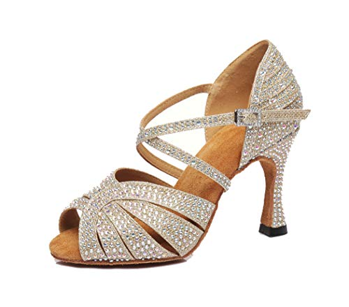 MGM-Joymod Mujer Peep Toe Cruz Correa Rhinestone Sintético Baile Tango Baile Baile...