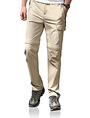 Men's Hiking Convertible Outdoor Pants Stretch Lightweight Quick Dry Waterproof Breathable UPF Khaki 32
