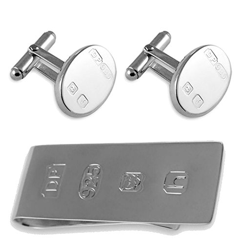 Select Gifts Sterling Silber heavyweight Funktion hallmark Manschettenknöpfe James Bond Geld Clip Box Set