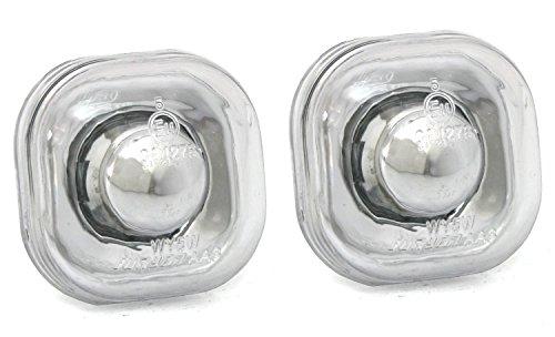 Lot de clignotants latéraux en verre transparent chromé.