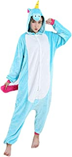 Pijama Unicórnio Azul Macacão Kigurumi com Capuz