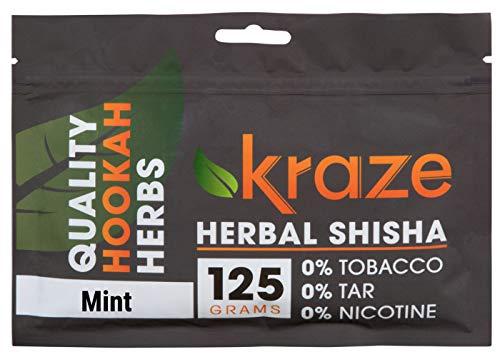 Kraze Hookah Tobacco-Free Herbal Shisha Molasses, 125g (Mint)