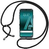 Ingen Funda con Cuerda para Samsung Galaxy A50S / A50 / A30S - Carcasa Transparente TPU Suave Silicona Case con Colgante - Negro