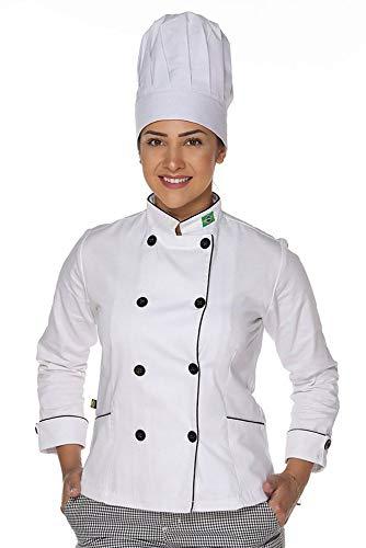 Dolmã Chef Feminino Duplo Abotoamento Algodão com Bandeira