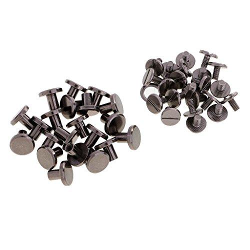 B Baosity 20 Stück Vintage Bronze Nieten Ziernieten DIY Rundnieten Kegelnieten - grau schwarz, 8mm