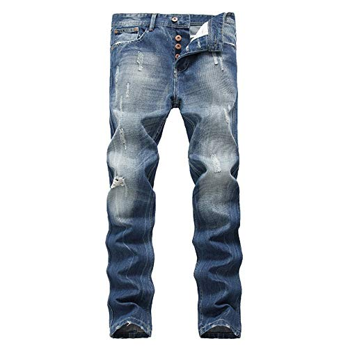 Uiophjkl heren casual jeans slim fit jeans, jong uitziende modieus, super comfortabele stretch skinny fit denim jeans gescheurde slim fit tapered leggjeans