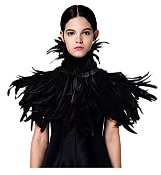 L VOW Black Feather Shrug Cape Shawl Collar Halloween Costumes for Women  Black-003