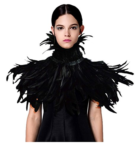 L'VOW Black Feather Shrug Cape Shawl Collar Halloween Costumes for Women (Black-003)