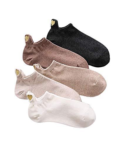 Bella und Flores - Socken Herz aus Gold, 5er-Pack, 35-39, Mehrfarbig (elegant)