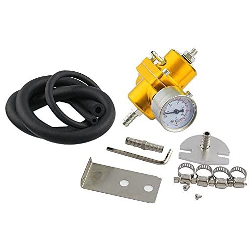 WFAANW Coche modificado Regulador de presión de combustible Válvula de regulación de combustible Petrol Booster Aplicador mejorado con reloj (Color : Gold)