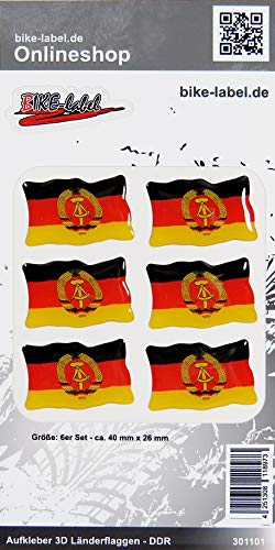 Bike Label 301101N Aufkleber 3D Länder-Flaggen DDR 6 Stck je 40 x 26 mm