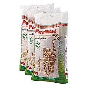 PeeWee 42 L / 27 KG Holzstreu Katzenstreu Einstreu Bio Öko Streu Pellets (3x9kg) 3