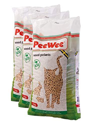 PeeWee 42 L / 27 KG Holzstreu Katzenstreu Einstreu Bio Öko Streu Pellets (3x9kg)