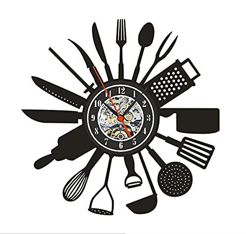 Ustensiles de Cuisine Horloge Murale Silencieuse sans Tic Tac, Vintage Wall Clock Home Decor Noir - 30 Cm, Vinyle Pendule Murale Décoration pour Salon Cuisine Chambre Bureau