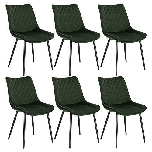 WOLTU® Esszimmerstühle BH209dgn-6 6er Set Küchenstuhl Polsterstuhl Wohnzimmerstuhl Sessel mit Rückenlehne, Sitzfläche aus Samt, Metallbeine, Dunkelgrün