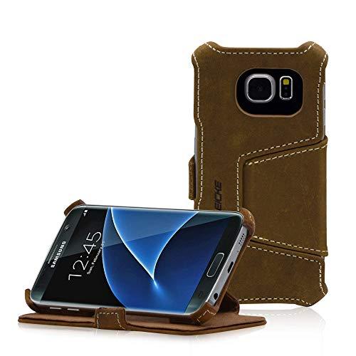 Manna Handyhülle, kompatibel mit Samsung Galaxy S7, Standfunktion, Kreditkartenfach, Hülle Cover für Smartphones, Leder Braun